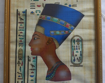 Egyptian artwork on Papyrus in frame