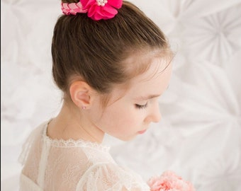 Pink ribbon braided floral ballet bunwrap