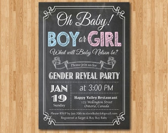 Chalkboard Gender Reveal Invitation. Baby boy or girl announcement Party. Oh Baby. Black and White typography. Printable digital DIY.