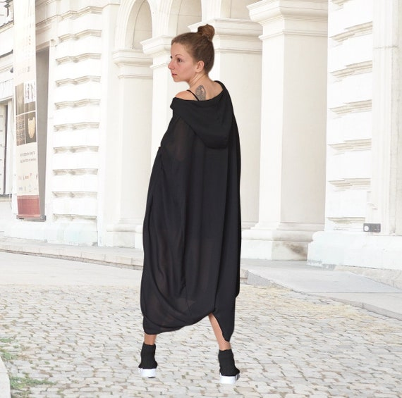 Maxi Abaya Hooded Sweatshirt, Silk Caftan Dress, Extra Loose Elegant Overall, Oversized Black Gown,  Spring Summer FashionHoodie