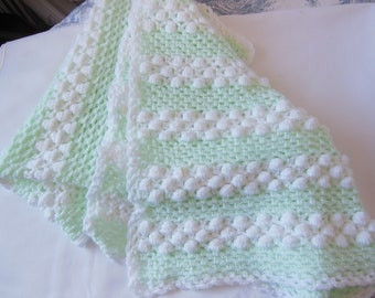Baby Blanket - Hand crocheted in soft mint and white yarn