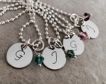 SALE!!!  Custom Hand stamped Initial Monogram Necklace
