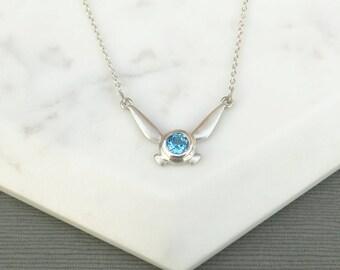 Sterling Silver Zelda Navi Pendant, Legend of Zelda inspired Necklace, Nintendo Charm Pendant, Sterling Silver and Blue Topaz