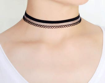 black lace choker,triangle ring choker,simple choker,black choker,choker necklace