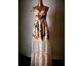 Summer Solstice Maxi Dress - Faux Suede Floral - Open Criss Cross Back - Ruched Pockets - Free Form Lace n Leather Trim Appliques - One Size