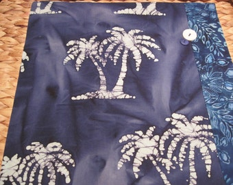 "14"" x 14"" PILLOW COVER - Tropical Palm Tree Silhouettes on Sea Blue Indian Batik"
