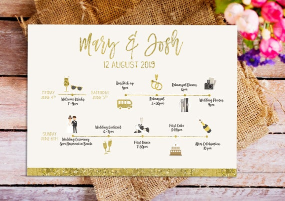 Gold Wedding Weekend Itinerary Template, Printable Gold Wedding Itinerary  Template, Destination Wedding Weekend Itinerary, Wedding Weekend