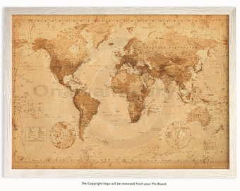 Vintage Style World Map - Matt Laminated Push Pin Memo Board - Framed Driftwood Effect