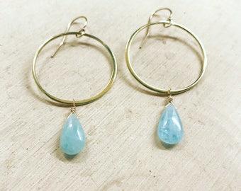 Aquamarine Drop Hoop Earrings