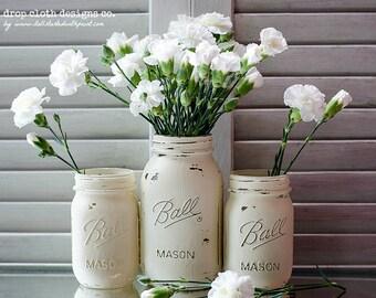 Shabby Set Annie Sloan Chalk Paint Mason Jar Vases