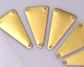 80 pcs Raw Brass 11x20 mm triangle tag 3 hole connector Charms ,Findings 744R-36