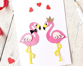 Flamingo valentines card ~ Flamingo card ~ Flamingo anniversary card ~ Flamingo love you card ~ His and his card ~ Pink Flamingos ~