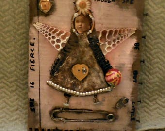 SALE Assemblage Repurposed Found Object Angel Wall Art Collage Baby Original Handmade Steampunk Folk Art Mother's Day