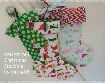 Christmas Stocking PATTERN, Super Simple, Tutorial with Photos, pdf