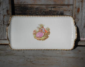 Porcelain plate with Baroque love scene and gold-just like the Royals-German manufactory-40s vintage