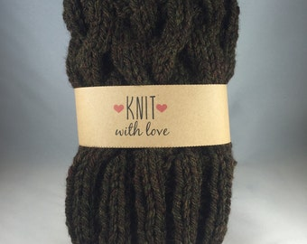 Cable Knit Boot Cuffs/ Boot Toppers in Walnut