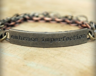 "2pc Indie Inspirational Quote Interchangeable Bracelet ... ""Embrace imperfection"""