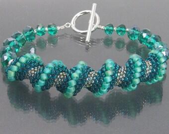 TANTALIZING Teal Seed Bead Bracelet, Cellini Spiral Bracelet, Spiral Jewelry, Beaded Bracelet, Beadwork Bracelet, Peyote Seed Bead Jewelry