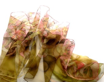 Silk scarf for woman - hand painted silk scarf - mustard silk scarves wearable art collection - silk shawl with  radish tones.