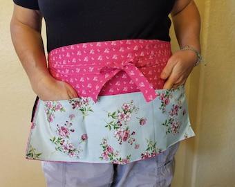 Small Pink Flower Waitress/Server/Vendor/Half/Waist/Waiter/3 Pocket Apron