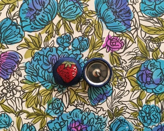 Fabric Button Earrings / Strawberry / Wholesale Available / Stud Earrings / Small Gifts / Handmade Jewelry / Fruit Print / Made in NYC