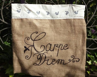 Carpe diem Tote bag burlap