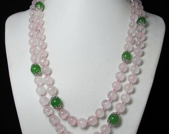 Long Necklace 47 inch IN Natural Rose Quartz and Jade