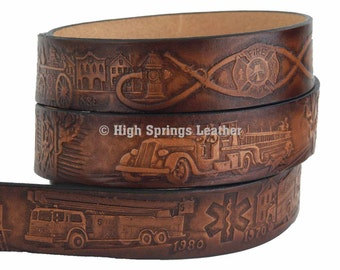 Firefighter Leather Belt Available in Brown or Black