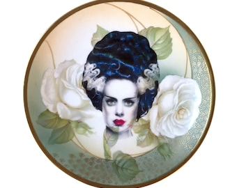Vintage - Illustrated - Bride  Plate - Upcycled - Wall Display  - China  - Altered - Antique - Plate