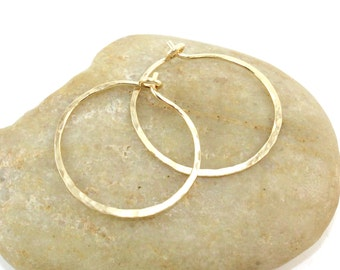 14K Gold Filled 18 Gauge Hoops, Hammered Gold Hoop Earrings, One Inch Hoops, Hand Forged Hoops, Gift for Her, Minimal Hoops
