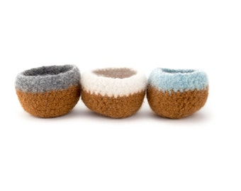 SALE- Wooly Felted Bowls - 3 felted bowls - camel brown/burnt brown natural, grey, blue 3