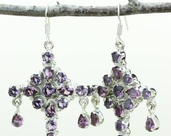 Amethyst 925 SOLID (Nickel Free) Sterling Silver Italian Made Dangle Earrings e669