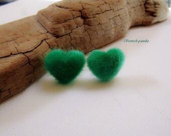 Green faux fur heart earrings