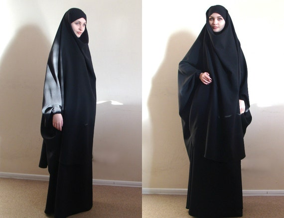 Costume Noir Franch Khimar Musulman Noir Tenue Abaya Burqa - Pret a porter musulmane