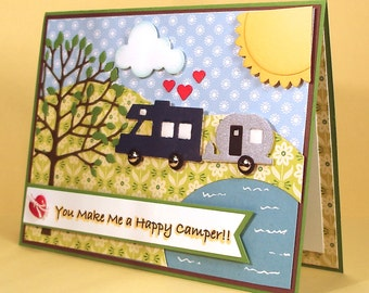 Happy Camper Card - Handmade Card with Camper and Airstream Trailer