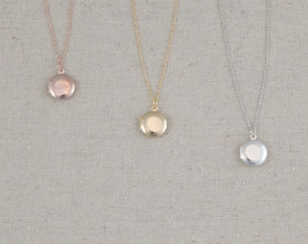 Locket Necklace | Photo Keepsake | Solid Round Pendant | Layered Necklace | Dainty | Delicate | Gift for Her | Mothers Day Gift