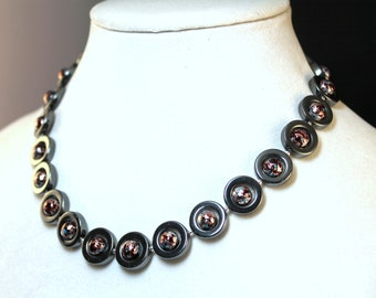 Black Bronze Blue Hemalyke Chrome Circles and Balls Constructed Choker Necklacer