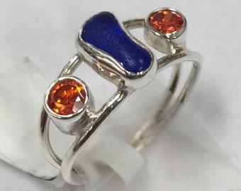 Cobalt Seaglass & Orange CZ Ring