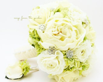 Bridal Bouquet with Real Touch Peonies Real Touch Roses Hydrangea Silk Ranunculus in Green and Ivory with Rhinestones