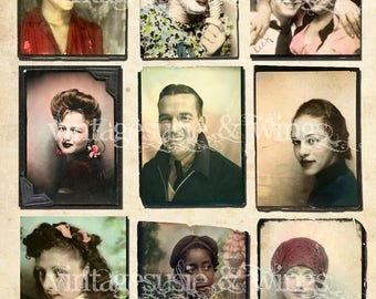 Vintage Hand Tinted PHOTO BOOTH WEDDING Men Women Girls Couples Pictures Collage Sheet Digital Download