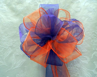 Orange/Tangerine and Regency Purple Wedding/ Pew Bows set of 10