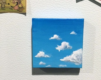 Blue Sky / Tiny Canvas Painting / Clouds / 2x2