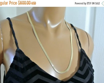 ON SALE 14K Gold Herringbone Necklace Made in Italy
