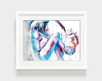 Nnewbornewborn. Woman. Beautiful mother and baby print.  Woman watercolor art print. Wall art, wall decor, digital print.