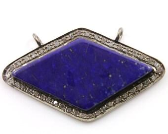 Pave Diamond Pendant, Pave Lapis Pendant, Diamond Kite Lapis Charm, Pave Kite, Pave Lapis, Pave Connector, Oxidized Silver. (DCH/OT/128)
