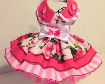 Precious pup pink three tier party dress