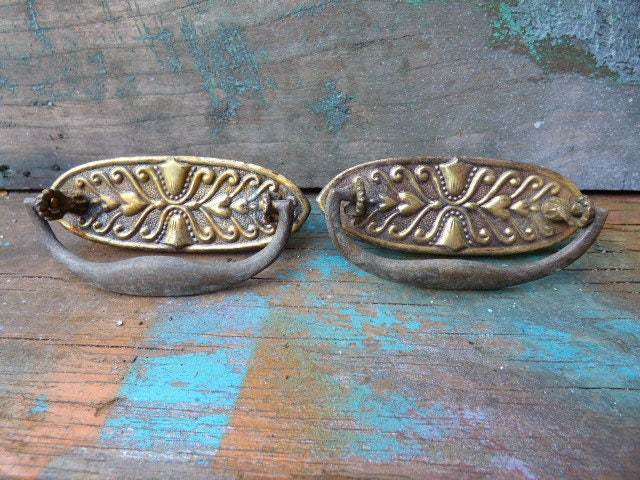 2 antique Drawer handles ornate Victorian Drop dresser pulls Deco ...