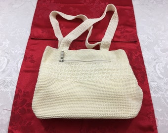 Vintage Worthington Off White Woven Purse Bag with matching Coin Purse