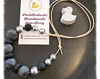 Polymer Necklace - Black and Concrete Grey Marble
