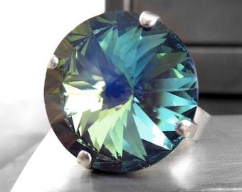 Large Ghost Crystal Ring, Muted Blue Aqua Seafoam Green Yellow Swarovski Crystal Rivoli Ring, Modern Silver Crystal Ring, Adjustable Ring